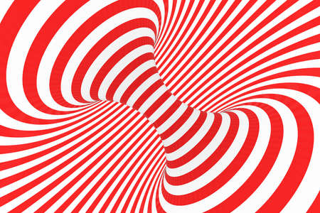 Swirl optical 3D illusion raster illustration. Contrast red and white spiral stripes. Geometric torus image with lines, loops. Abstract art. Endless, infinity effect. Psychedelic background Foto de archivo - 123812265