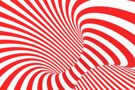 Swirl optical 3D illusion raster illustration. Contrast red and white spiral stripes. Geometric torus image with lines, loops. Abstract art. Endless, infinity effect. Psychedelic background Imagens