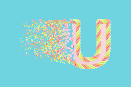 Shattering letter U 3D realistic raster illustration. Alphabet letter with marshmallow texture. Isolated design element. Sweet shop logo idea with explosion rendering effect. Destroying fragments