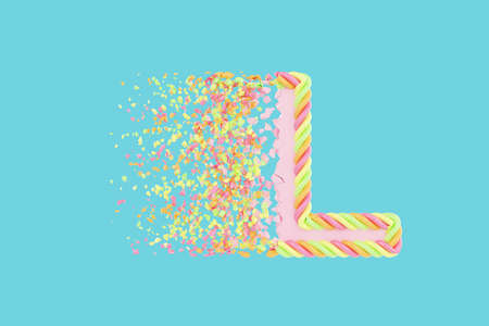 Shattering letter L 3D realistic raster illustration. Alphabet letter with marshmallow texture. Isolated design element. Sweet shop logo idea with explosion rendering effect. Destroying fragments