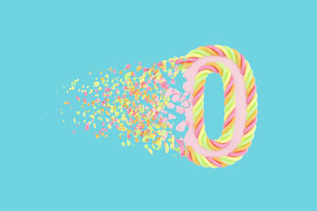 Shattering number 0 3D realistic raster illustration. Alphabet number with marshmallow texture. Isolated design element. Sweet shop logo idea with explosion rendering effect. Destroying fragments Stock Photo