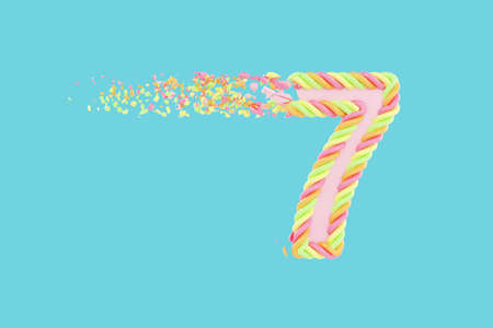 Shattering number 7 3D realistic raster illustration. Alphabet number with marshmallow texture. Isolated design element. Sweet shop logo idea with explosion rendering effect. Destroying fragments