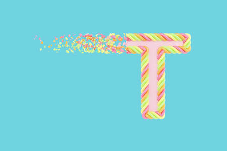 Shattering letter T 3D realistic raster illustration. Alphabet letter with marshmallow texture. Isolated design element. Sweet shop logo idea with explosion rendering effect. Destroying fragments