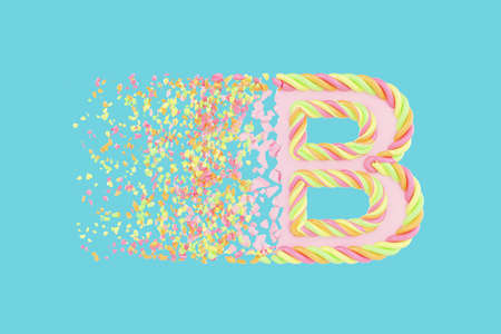 Shattering letter B 3D realistic raster illustration. Alphabet letter with marshmallow texture. Isolated design element. Sweet shop logo idea with explosion rendering effect. Destroying fragments