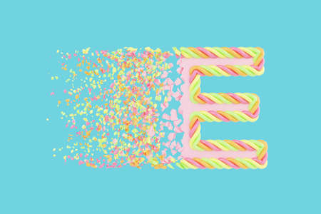 Shattering letter E 3D realistic raster illustration. Alphabet letter with marshmallow texture. Isolated design element. Sweet shop logo idea with explosion rendering effect. Destroying fragments