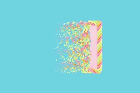 Shattering letter I 3D realistic raster illustration. Alphabet letter with marshmallow texture. Isolated design element. Sweet shop logo idea with explosion rendering effect. Destroying fragments Stock Photo