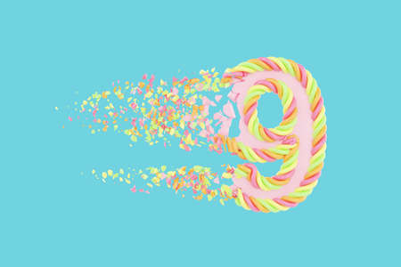 Shattering number 9 3D realistic raster illustration. Alphabet number with marshmallow texture. Isolated design element. Sweet shop logo idea with explosion rendering effect. Destroying fragments
