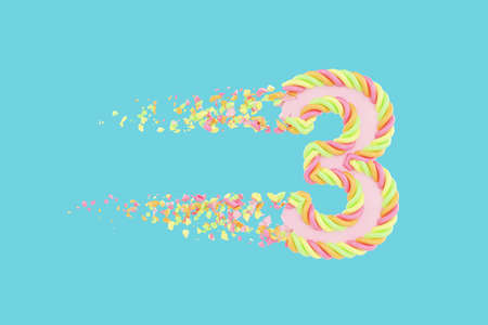 Shattering number 3 3D realistic raster illustration. Alphabet number with marshmallow texture. Isolated design element. Sweet shop logo idea with explosion rendering effect. Destroying fragments Stock Photo