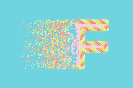 Shattering letter F 3D realistic raster illustration. Alphabet letter with marshmallow texture. Isolated design element. Sweet shop logo idea with explosion rendering effect. Destroying fragments