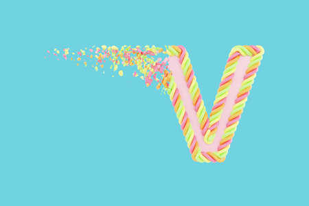 Shattering letter V 3D realistic raster illustration. Alphabet letter with marshmallow texture. Isolated design element. Sweet shop logo idea with explosion rendering effect. Destroying fragments