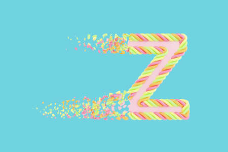 Shattering letter Z 3D realistic raster illustration. Alphabet letter with marshmallow texture. Isolated design element. Sweet shop logo idea with explosion rendering effect. Destroying fragments