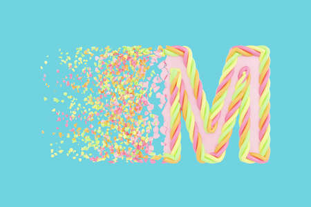 Shattering letter M 3D realistic raster illustration. Alphabet letter with marshmallow texture. Isolated design element. Sweet shop logo idea with explosion rendering effect. Destroying fragments Stockfoto