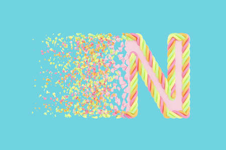 Shattering letter N 3D realistic raster illustration. Alphabet letter with marshmallow texture. Isolated design element. Sweet shop logo idea with explosion rendering effect. Destroying fragments Stockfoto
