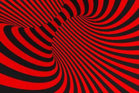 Torus 3D optical illusion raster illustration. Hypnotic black and red tube image. Contrast twisting loops, stripes ornament. Endless effect psychedelic pattern. Abstract art. Geometric curves Stock Photo