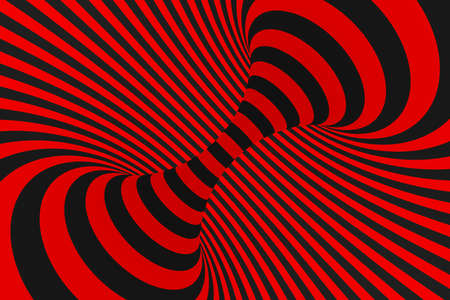 Torus 3D optical illusion raster illustration. Hypnotic black and red tube image. Contrast twisting loops, stripes ornament. Endless effect psychedelic pattern. Abstract art. Geometric curves Stok Fotoğraf