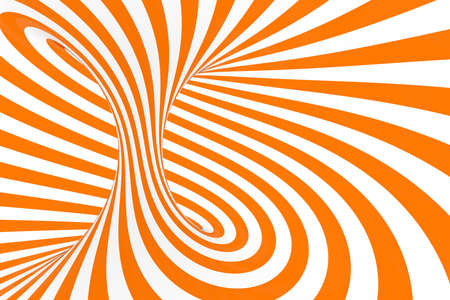 Torus 3D optical illusion raster illustration. Hypnotic white and orange tube image. Contrast twisting loops, stripes ornament. Endless effect psychedelic pattern. Abstract art. Geometric curves Foto de archivo - 130561212