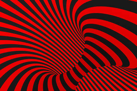 Torus 3D optical illusion raster illustration. Hypnotic black and red tube image. Contrast twisting loops, stripes ornament. Endless effect psychedelic pattern. Abstract art. Geometric curves Stockfoto