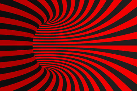Torus 3D optical illusion raster illustration. Hypnotic black and red tube image. Contrast twisting loops, stripes ornament. Endless effect psychedelic pattern. Abstract art. Geometric curves Imagens