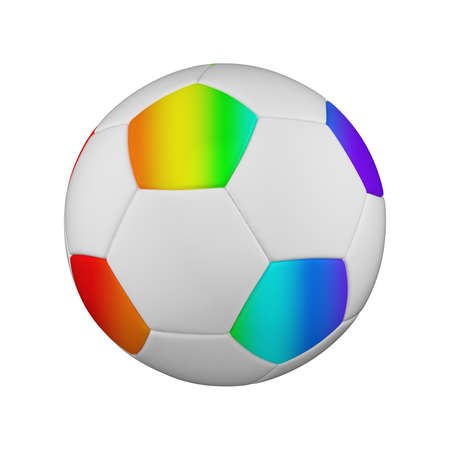 Soccer ball realistic 3d raster illustration. Isolated football ball on white background. International sports competition, tournament. Detailed design element for championship logo, poster, banner Foto de archivo - 122170722