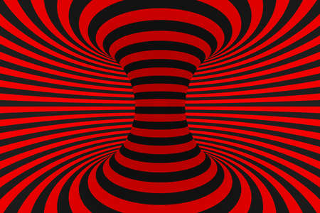 Torus 3D optical illusion raster illustration. Hypnotic black and red tube image. Contrast twisting loops, stripes ornament. Endless effect psychedelic pattern. Abstract art. Geometric curves Foto de archivo - 122170725