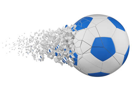 Shattering soccer ball 3D realistic raster illustration. Football ball with explosion effect. Isolated design element. Sports competition, tournament logo. Destroying fragments, pieces, particles Foto de archivo - 122170726