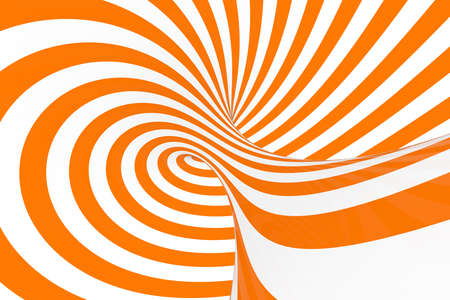 Torus 3D optical illusion raster illustration. Hypnotic white and orange tube image. Contrast twisting loops, stripes ornament. Endless effect psychedelic pattern. Abstract art. Geometric curves Foto de archivo - 122170736
