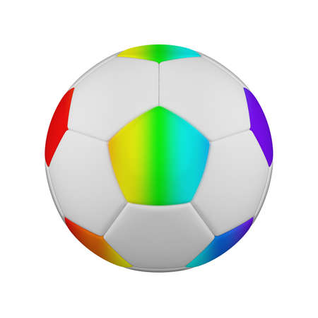 Soccer ball realistic 3d raster illustration. Isolated football ball on white background. International sports competition, tournament. Detailed design element for championship logo, poster, banner Foto de archivo - 122170739