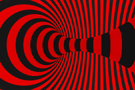 Torus 3D optical illusion raster illustration. Hypnotic black and red tube image. Contrast twisting loops, stripes ornament. Endless effect psychedelic pattern. Abstract art. Geometric curves Foto de archivo - 122170740