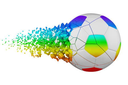Shattering soccer ball 3D realistic raster illustration. Football ball with explosion effect. Isolated design element. Sports competition, tournament logo. Destroying fragments, pieces, particles