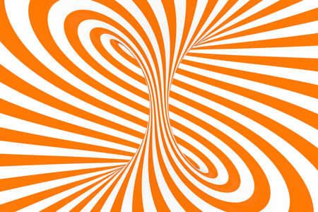 Torus 3D optical illusion raster illustration. Hypnotic white and orange tube image. Contrast twisting loops, stripes ornament. Endless effect psychedelic pattern. Abstract art. Geometric curves
