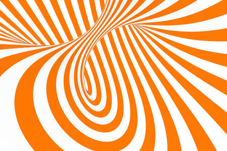 Torus 3D optical illusion raster illustration. Hypnotic white and orange tube image. Contrast twisting loops, stripes ornament. Endless effect psychedelic pattern. Abstract art. Geometric curves Foto de archivo - 122170751