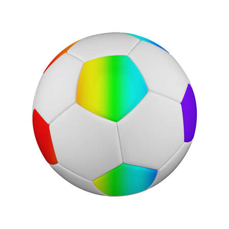 Soccer ball realistic 3d raster illustration. Isolated football ball on white background. International sports competition, tournament. Detailed design element for championship logo, poster, banner Foto de archivo - 130561216