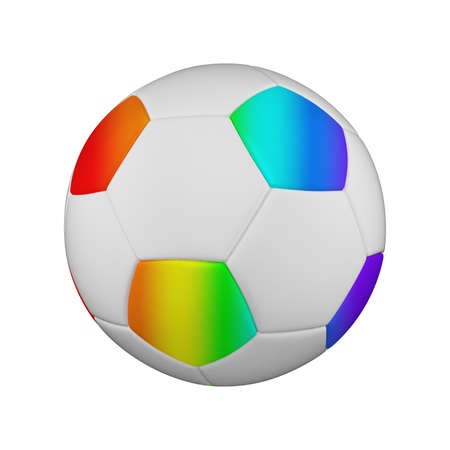 Soccer ball realistic 3d raster illustration. Isolated football ball on white background. International sports competition, tournament. Detailed design element for championship logo, poster, banner Foto de archivo - 130561217
