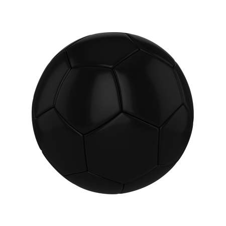 Football ball realistic 3d raster illustration. Black soccer ball clipart. Sports competition, poster, banner. International championship, tournament. Isolated rendering design element