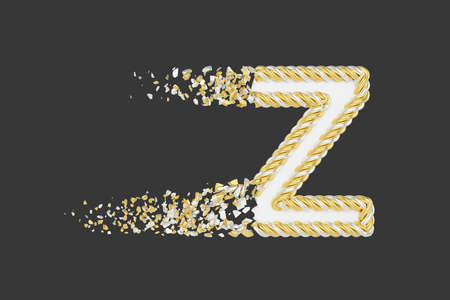 Shattering letter Z 3D realistic raster illustration. Twisted letter with explosion effect on dark background. Isolated design element. Golden and white font. Destroying alphabet symbol fragments