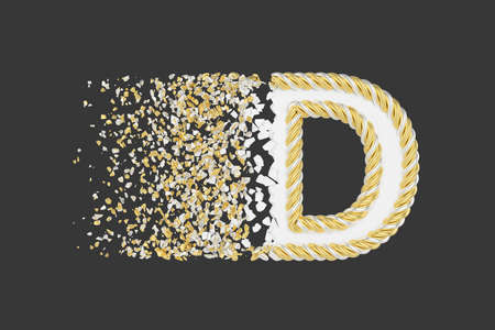Shattering letter D 3D realistic raster illustration. Twisted letter with explosion effect on dark background. Isolated design element. Golden and white font. Destroying alphabet symbol fragments