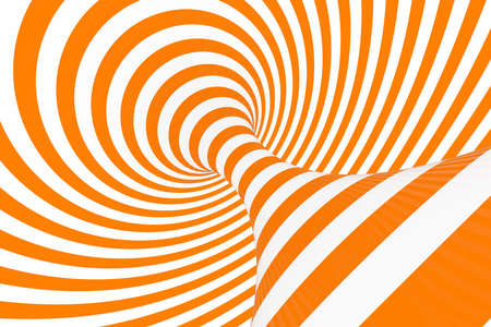 Torus 3D optical illusion raster illustration. Hypnotic white and orange tube image. Contrast twisting loops, stripes ornament. Endless effect psychedelic pattern. Abstract art. Geometric curves Stock Illustration - 120407679
