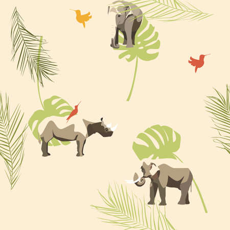 vector ornament with animals. Elephants, rhinos, bright birds on the background of palm leaves. pattern for wallpaper, fabrics, textiles, wrapping paper