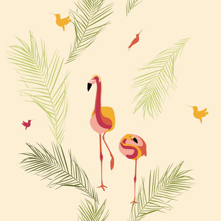 pattern with birds. Flamingos, hummingbirds, bright birds on the background of palm leaves. pattern for wallpaper, fabrics, textiles, wrapping paper 矢量图像