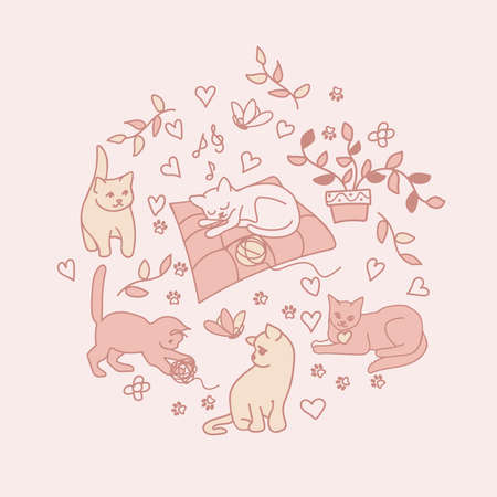 Cozy home. Vector illustration. A cute kitten sleeps on a blanket and dreams. In a dream, he plays with a ball, admires a butterfly, walks. For postcards, backgrounds, posters, etc.