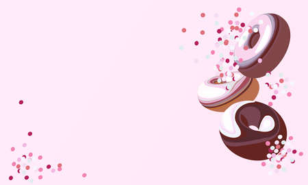 Donuts. Set of realistic vector illustration. For the design of banners, flyers, cards, invitations, e-commerce