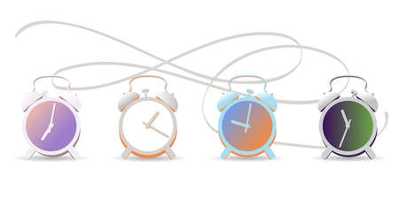 Realistic vector illustration of alarm clocks. Set of alarm clocks on a white background. Concept of events during the day