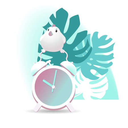Realistic vector illustration of an alarm clock. Alarm clock and a bird on a background of palm leaves.