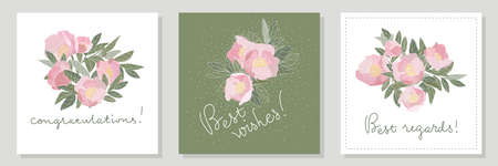 floral greeting cards. Pink peonies gathered in bouquets. Lettering Congratulations, Best wishes, Best regards.