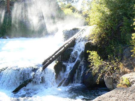 Misty waterfall edge. Stok Fotoğraf