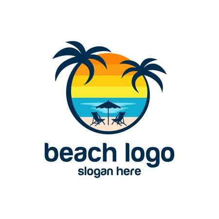Beach logo design Vector