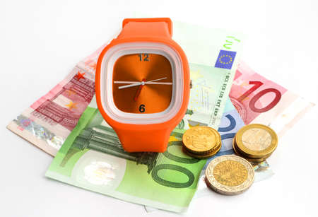 wristlet: wristlet watch with banknotes 10, 20 and 100 euro on a white backgound