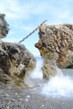 paysage: waves of the sea and cliffs,  waterscape Stock Photo