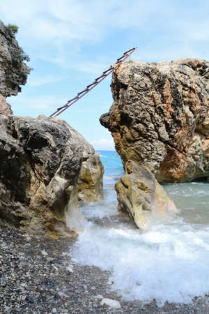 concretion: waves of the sea and cliffs Stock Photo