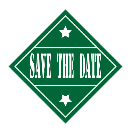 accepted label: grunge rubber stamp with text save the date on white, vector illustration
